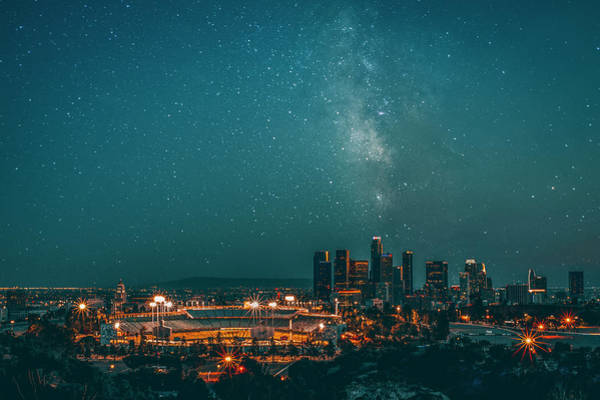 Los Angeles Skyline Photograph - Dodgers Stadium  by Art K