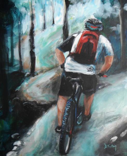 Cycling Helmet Painting - Dodging Trees by Donna Tuten