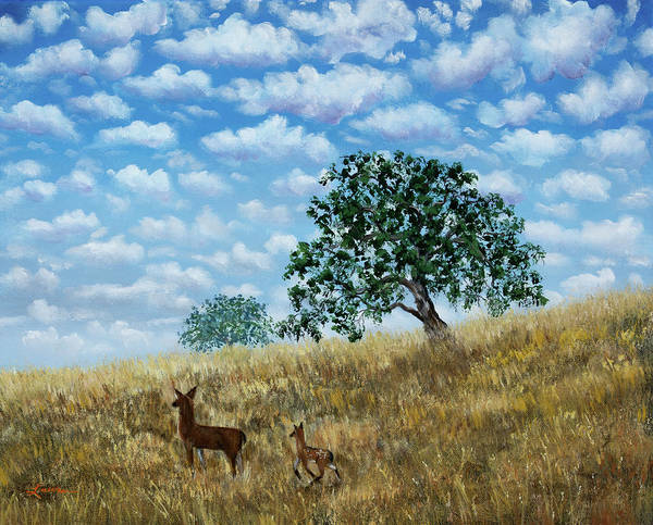 Happy Little Trees Painting - Doe And Fawn Under White Fluffy Clouds by Laura Iverson