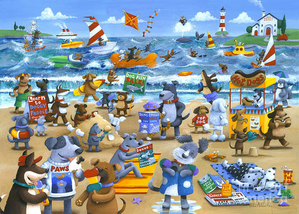 Wall Art - Painting - Dog Beach by MGL Meiklejohn Graphics Licensing