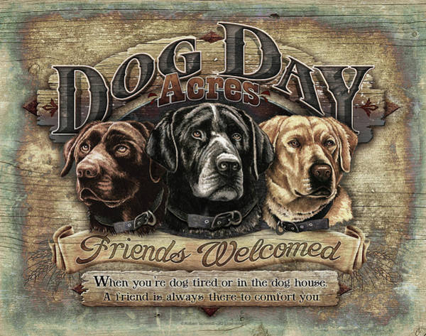 Wall Art - Painting - Dog Day Acres Sign by JQ Licensing