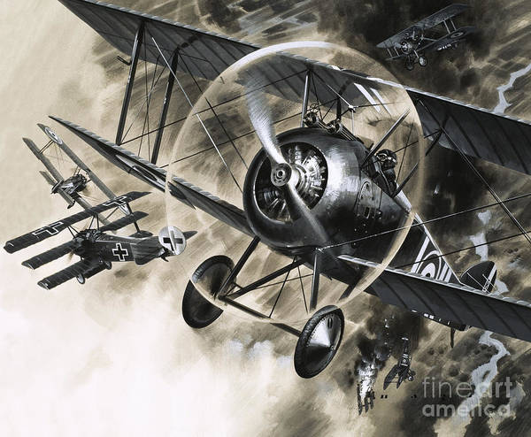Wall Art - Painting - Dog Fight Between British Biplanes And A German Triplane by Wilf Hardy
