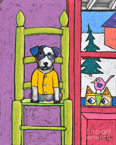 Wall Art - Painting - Dog In The Chair by David Hinds