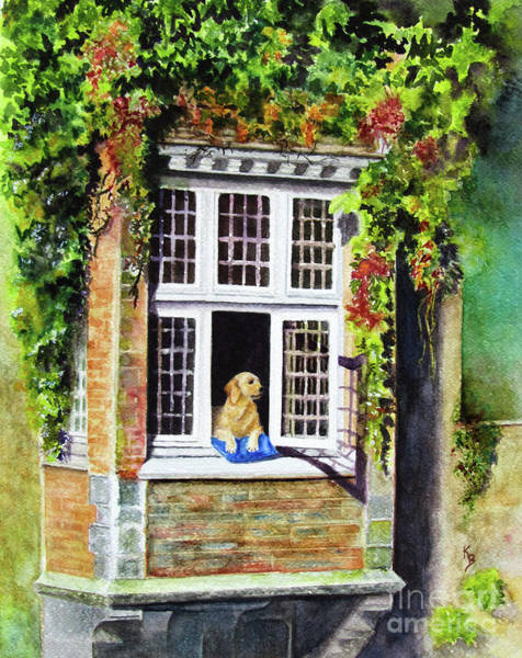Painting - Dog In The Window by Karen Fleschler