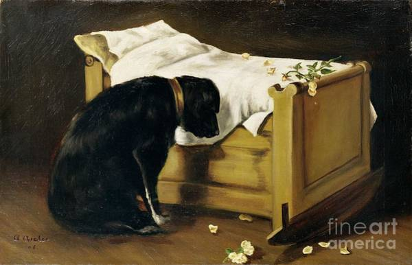 Mourning Painting - Dog Mourning Its Little Master by A Archer