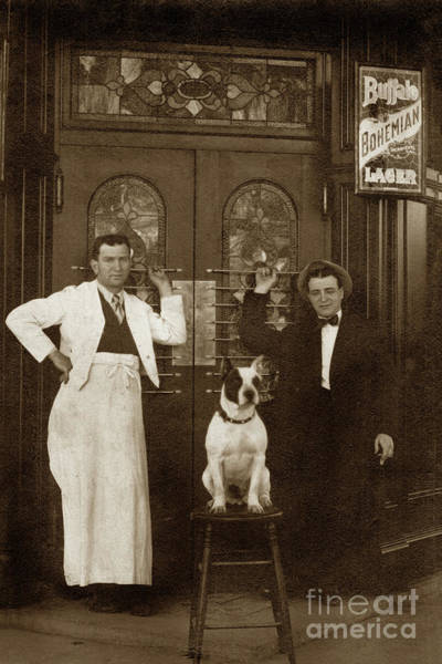 Photograph - Dog On A Bar Stool With Bartender And An Other Man In Front Of A by California Views Archives Mr Pat Hathaway Archives