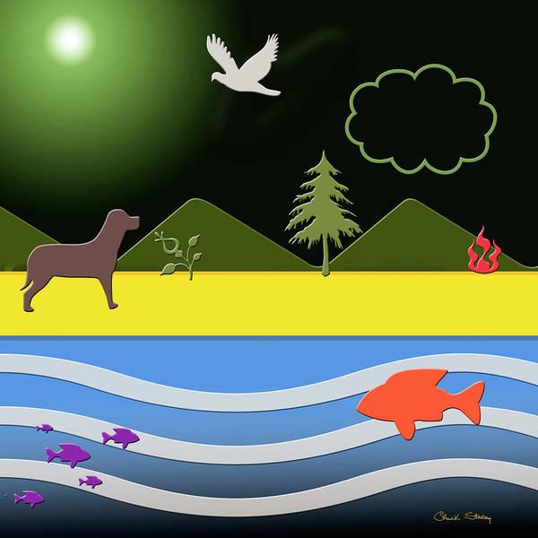 Digital Art - Dog On Beach by Chuck Staley