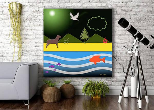 Digital Art - Dog On Beach In Home by Chuck Staley