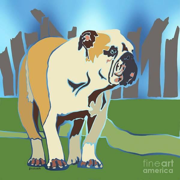 Wall Art - Painting - Dog Park Bulldog by Robin Wiesneth