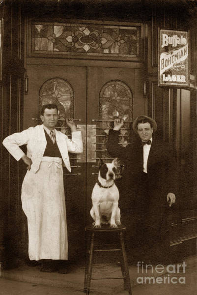 Photograph - Dog Sitting On A Barstool With  Bartender Circa 1910 by California Views Archives Mr Pat Hathaway Archives
