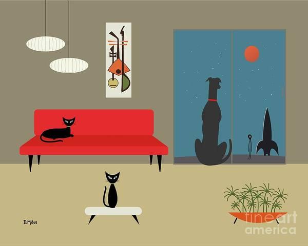 Red Planet Digital Art - Dog Spies Alien by Donna Mibus