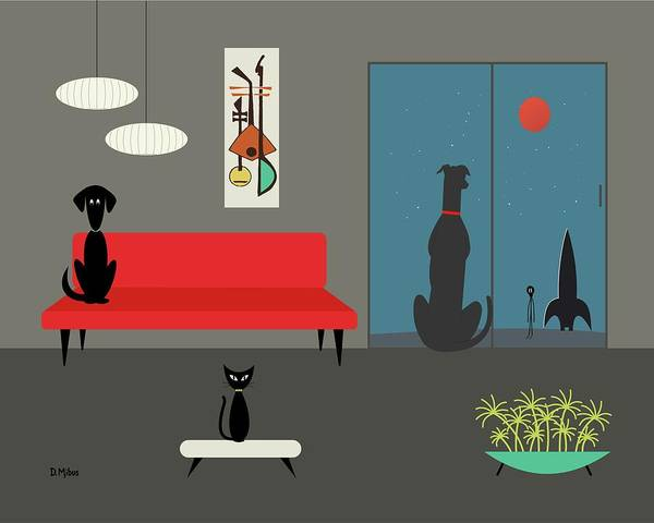 Digital Art - Dog Spies Alien Gray Room by Donna Mibus