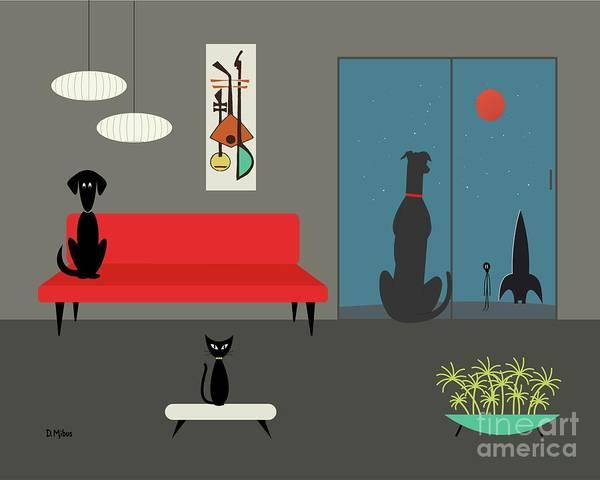 Digital Art - Dog Spies Alien Gray Room by Donna Mibus