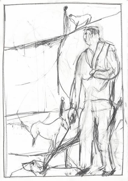 Drawing - Dog Walker by Artist Dot