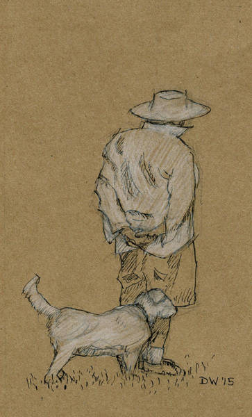 Drawing - Dog Walker Plein Air by Dominic White