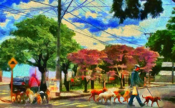 Digital Art - Dog Walkers At Rebelo Square by Caito Junqueira