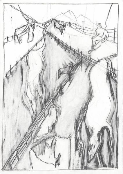Drawing - Dog Walking by Artist Dot