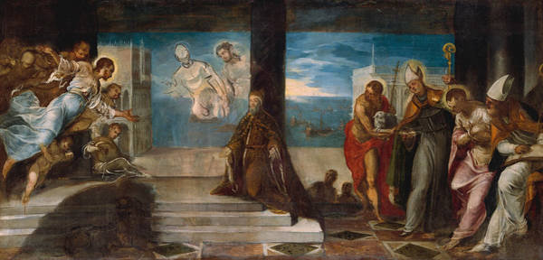 Painting - Doge Alvise Mocenigo Presented To The Redeemer by Tintoretto