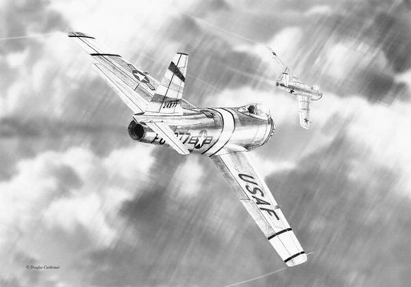 Drawing - Dogfight Over Korea by Douglas Castleman