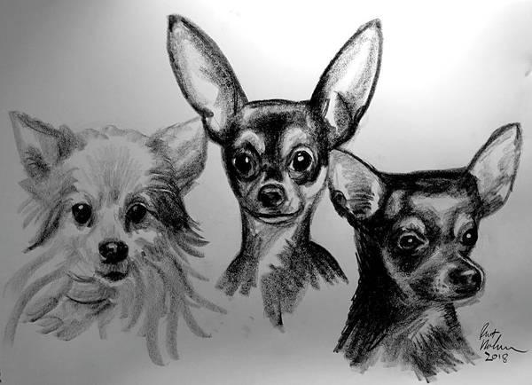 Wall Art - Drawing - Doggies by Robert Korhonen