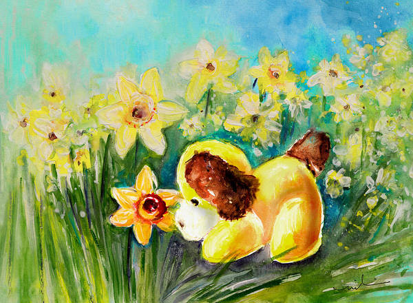 Wall Art - Painting - Doggy Daffodil by Miki De Goodaboom