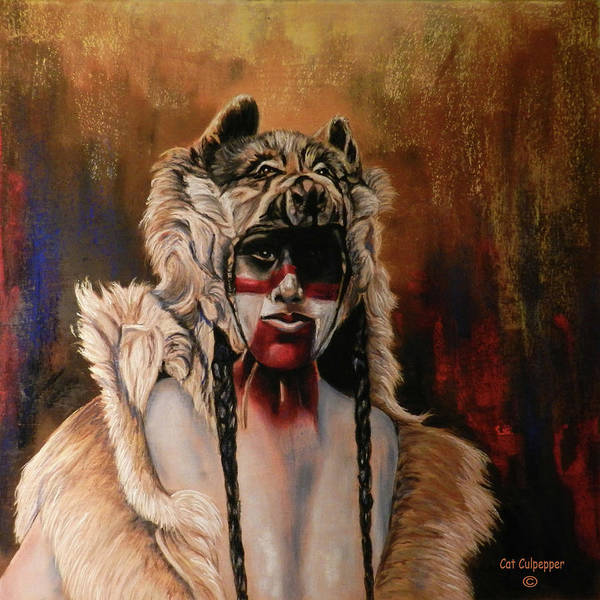 Native Mixed Media - Dogman  by Cat Culpepper