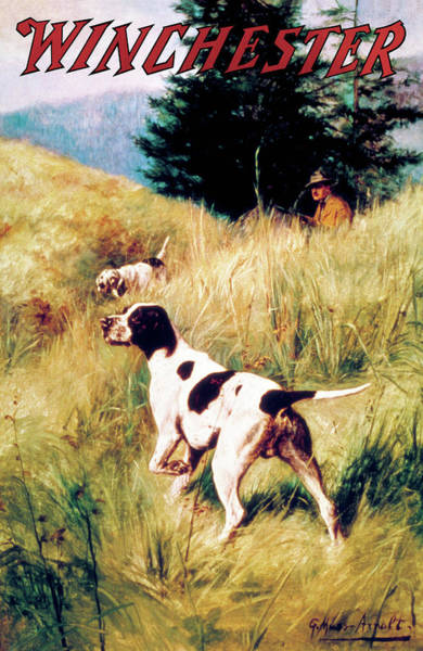 Painting - Dogs And Hunter by G Muss Arnolt