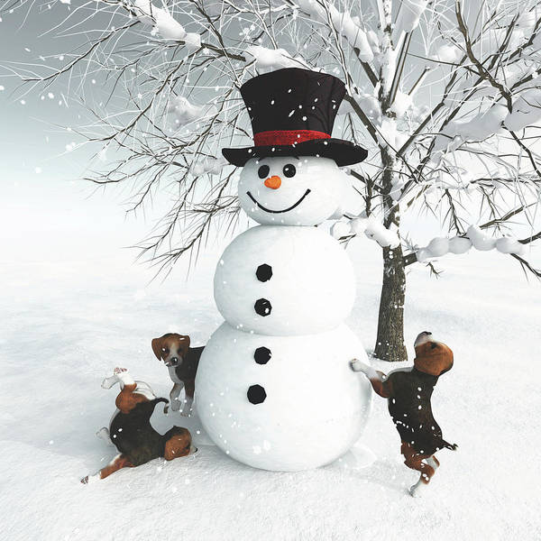Digital Art - Dogs Discovering A Snowman by Jan Keteleer