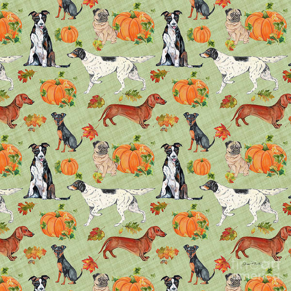 Wall Art - Painting - Dogs In Pumpkin Patch-a by Jean Plout