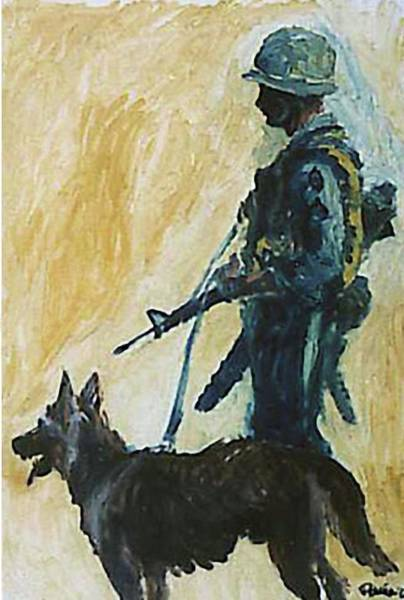 Husky Mixed Media - War Dogs - Mans Best Friend Vietnam Combat Army Dog by Augustine G Acuna