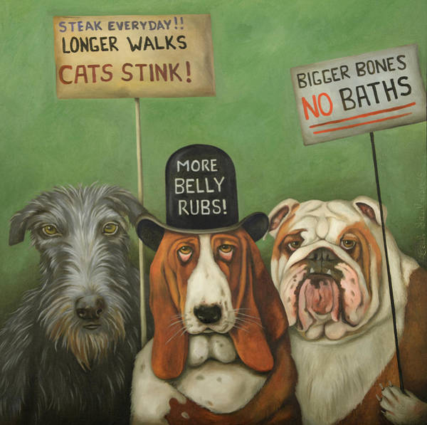 Painting - Dogs On Strike by Leah Saulnier The Painting Maniac