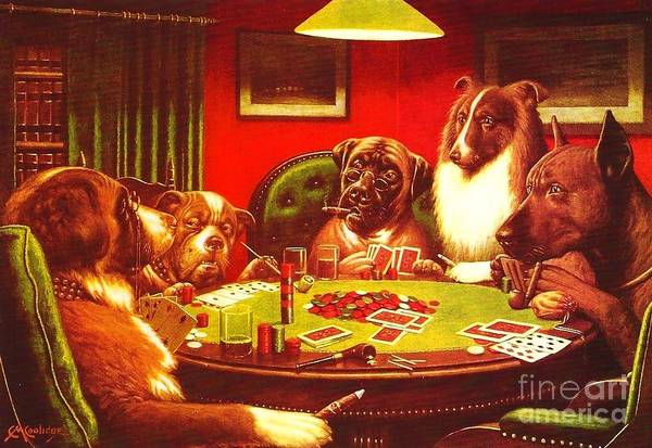 Coolidge Painting - Dogs Playing Poker by Reproduction