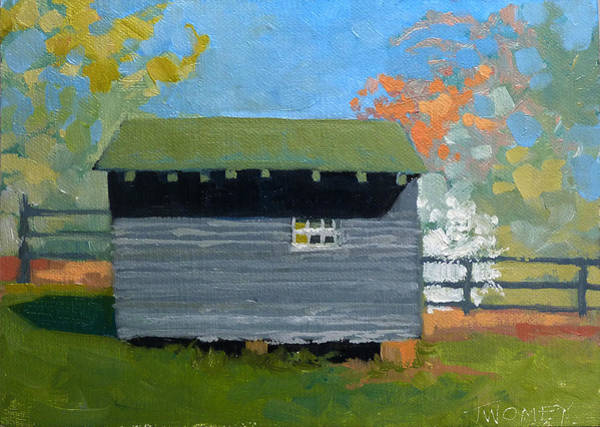 Dogwood Painting - Dogwood Farm Shed by Catherine Twomey