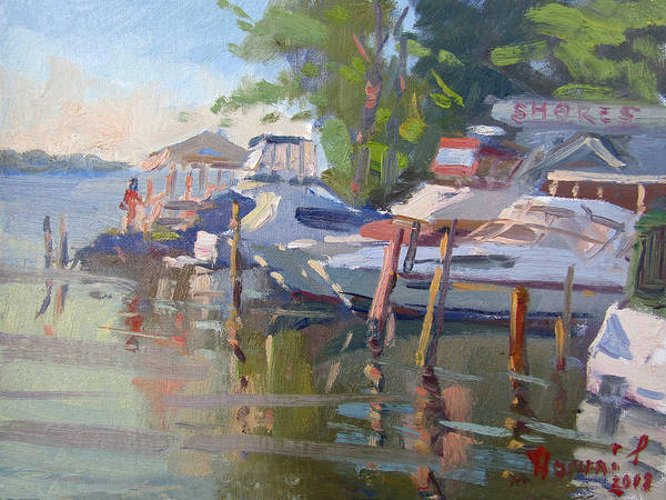 Lake Shore Wall Art - Painting - Docks At The Shores  by Ylli Haruni
