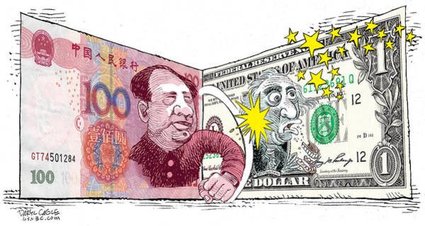 Drawing - Dollar Vs Yen by Daryl Cagle
