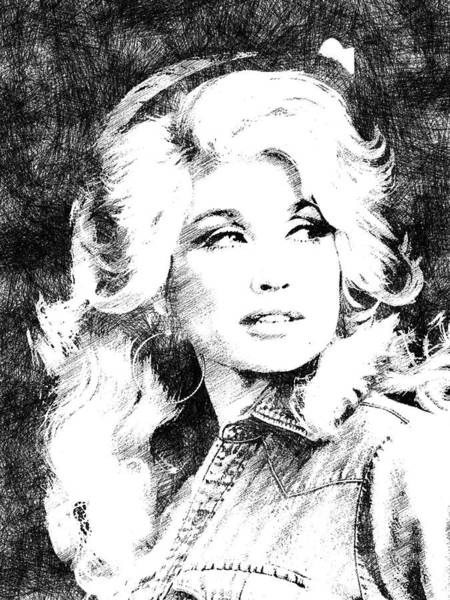 She Digital Art - Dolly Parton Bw Portrait by Mihaela Pater