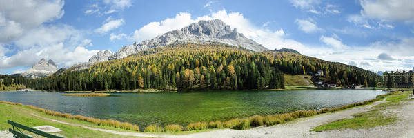 Photograph - Dolomite Mountain Lake Panaorama by Richard Henne