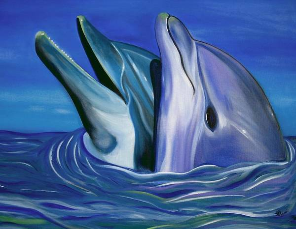 Wall Art - Painting - Dolphin Dance by Laura Barbosa