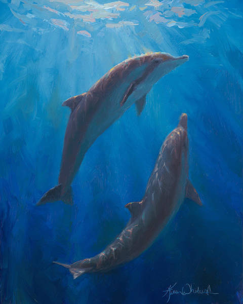 Wall Art - Painting - Dolphin Dance - Underwater Whales - Ocean Art - Coastal Decor by Karen Whitworth