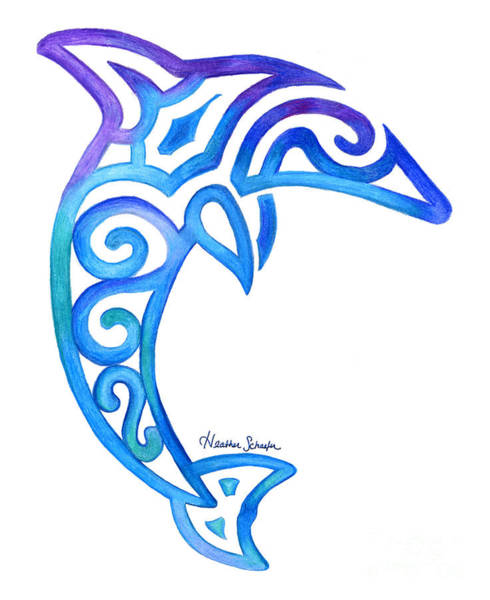 Drawing - Dolphin by Heather Schaefer