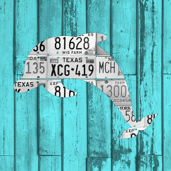 Beach House Mixed Media - Dolphin In License Plates Beach House Vintage Decor Series 004 by Design Turnpike
