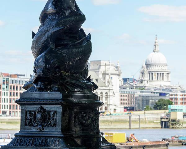 Photograph - Dolphin Lamppost A Along Of Thames Embankment In London by Jacek Wojnarowski