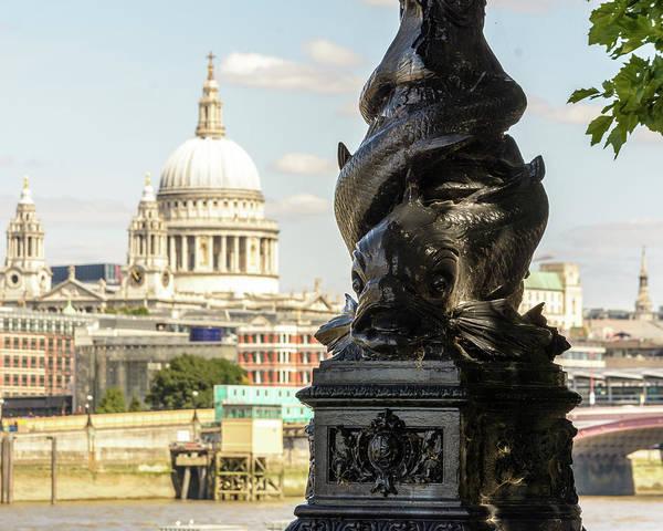 Photograph - Dolphin Lamppost B Along Of Thames Embankment In London by Jacek Wojnarowski