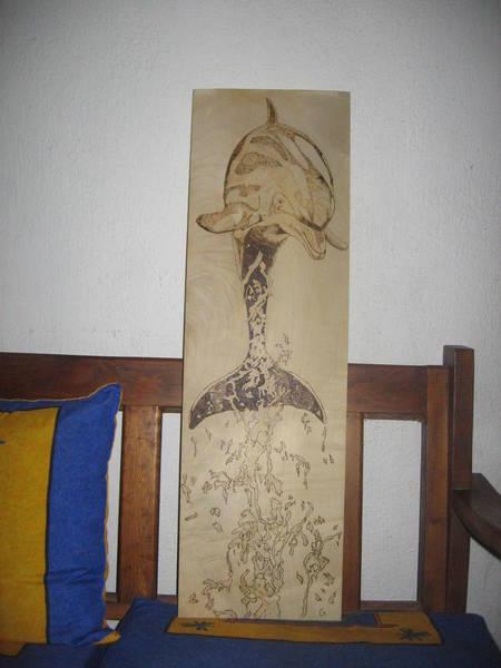 Pirografia Wall Art - Pyrography - Dolphin Pirography by Carlos Gayol