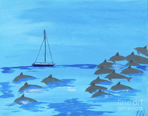 Painting - Dolphin Play by Karen Nicholson