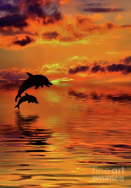 Wall Art - Digital Art - Dolphin Silhouette Sunset By Kaye Menner by Kaye Menner