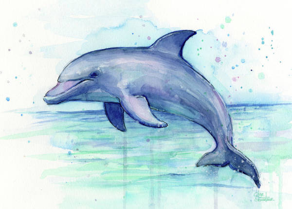 Creatures Painting - Dolphin Watercolor by Olga Shvartsur