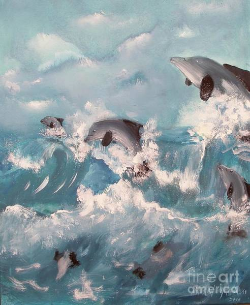Painting - Dolphins At Play by Miroslaw  Chelchowski