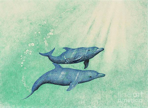 Stipple Drawing - Dolphins by Wayne Hardee