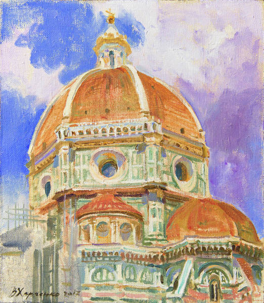 Florence Painting - Dome Of The Duomo. Leaving Into The Clouds by Victoria Kharchenko